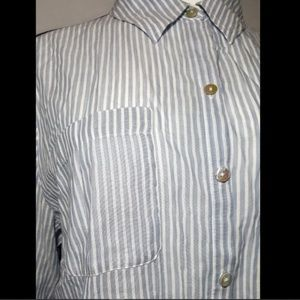 Chico's Tops - Chico's Blouse Blue Stripe Sheer Button Down